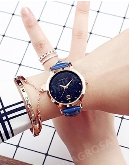 Relógio Feminino Elegante Casual Importado Couro Azul