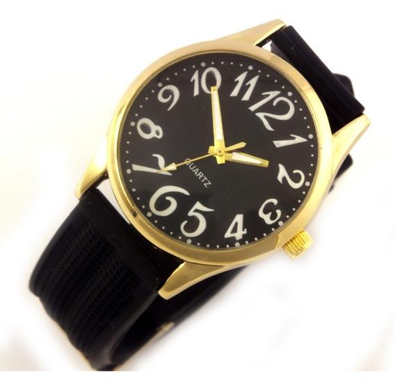 Relógio Masculino Quartz Pulso Pulseira Preta Borracha B5631