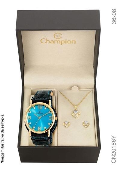 Kit Relógio Champion Dourado Cn20186y Couro Fundo Azul