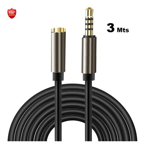 Extensión Cable Auxiliar Portátil 3 Mts Audio Micrófono Trrs