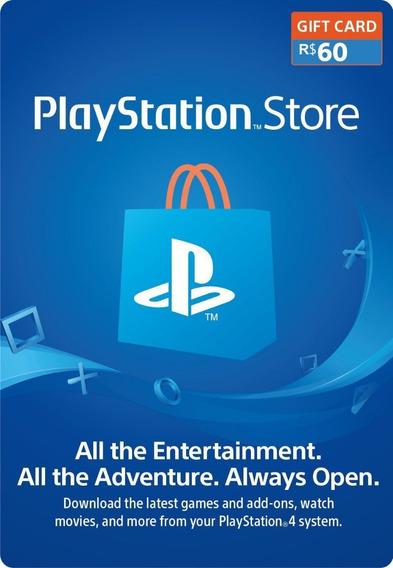 Cartão Psn Br Playstation Store R$60,00 Reais