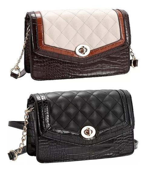Bolsa Feminina Chenson Tiracolo Pequena Croco Matelasse 3481772
