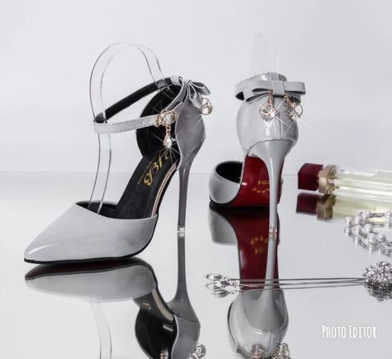 Sapato Feminino Importado Scarpin Salto Alto Tornozeleira