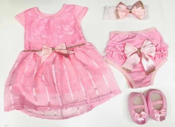 Vestido Bebê Menina +calcinha+laço+sapatinho Vermelho 4 Pçs