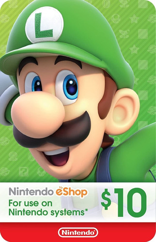 $10.00 Nintendo Eshop Tarjeta Prepago, Switch/wii/3ds