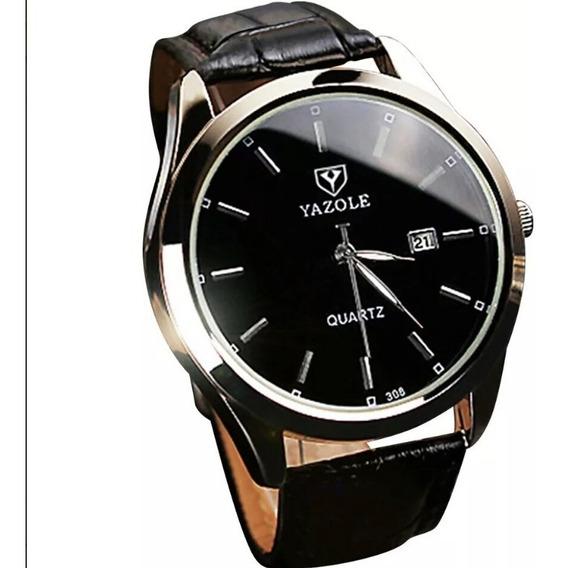 Relógio De Pulseira De Couro Masculino Yazole C/ Calendário