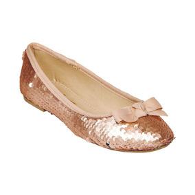 Calzado Dama Mujer Zapato Flat Lentejuela Rosa Casual Comodo