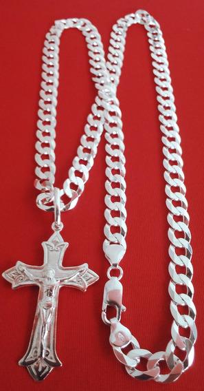 Cordão Escama 9mm 70cm+crucifixo Prata 925 Original+2 Brind