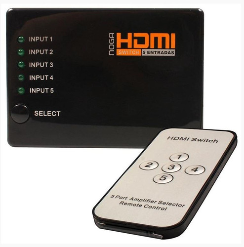 Switch Hdmi Noganet 5 Entradas C/control Remoto Hdmi-sw5