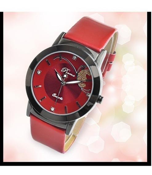 Relógios Feminino Preto Vermelho Roxo Pulseira Couro Luxo