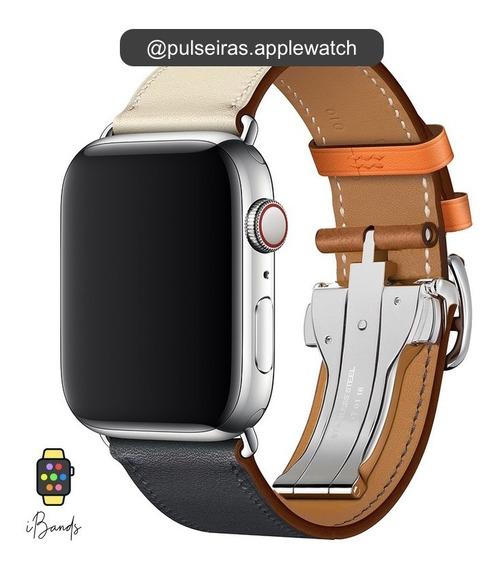Pulseira Couro Apple Watch 1 2 3 4 Fecho Deployant Hermès
