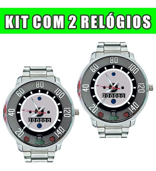 Relógio Pulso Personalizado Painel Volks Kit C/2 Fusca 140k