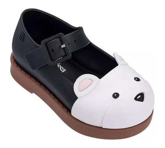 Sapato Mini Melissa Maggie Bear Preto Branco Marrom 32426