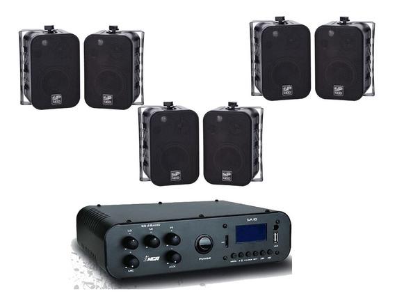 Kit Som Ambiente Amp Sa10 C/bluetooth + 6 Caixas Sp400p