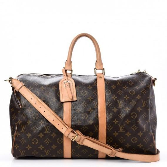 Mala Keepall 45 Monogram Bandouliere Louis Vuitton Couro Legítimo Premium Top C/ Código Série Acompanha Alça E Dust Bag