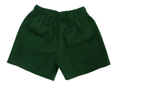Short Colegial/deportivo Gabardina Verde Talles 2 Al 16