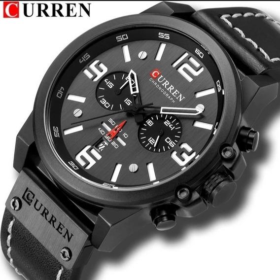 Relógio Masculino Curren Pronta Entrega Couro Oferta C.124