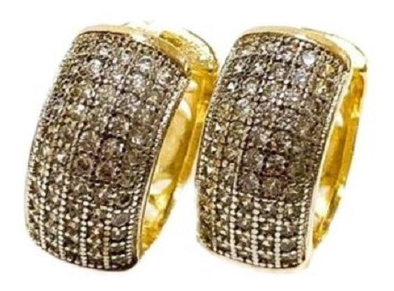 Brinco De Argola Zircônia Incolor Cravejada Banhado A Ouro