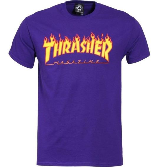 Playera Thrasher Flame Logo Purple