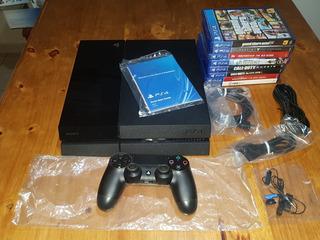 Playstation 4 500 Gb + 1 Joystick + 8 Juegos Físicos