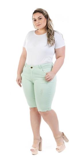 Bermuda Feminina Jeans Com Elastano Plus Size Bdj145