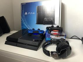 Playstation 4 Ps4 500gb 2 Controles 6 Jogos + Headset Pulse