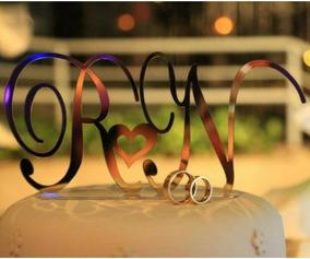 Topo De Bolo Em Acrilico Espelhado Casamento,iniciais...