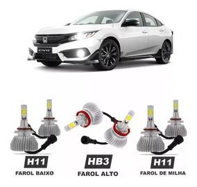 Lampadas Led Honda Civic G10 2018 Farol Alto Baixo Milha