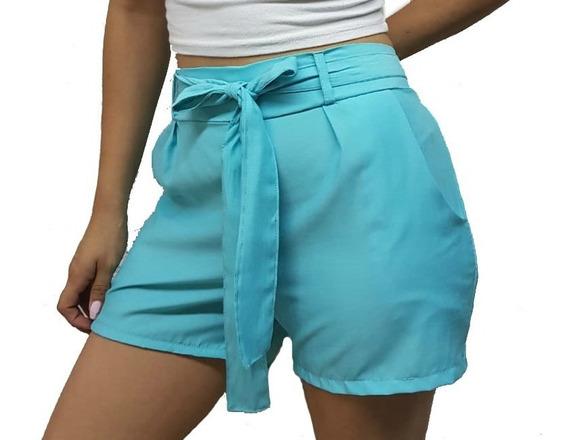 Short Fibrana Lisa Con Moño Para Mujer