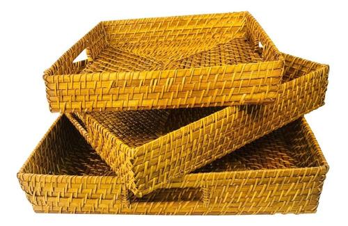 Imagen 1 de 4 de Bandejas Con Asas Por 3 Rattan