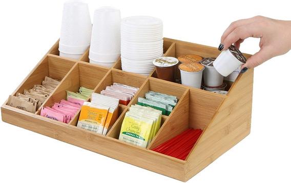 Organizador Café 11 Separadores Ecológico Bambú Cafetería