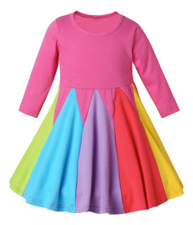 Vestido Rainbow Para Ni?as Princess Dress Op Pink