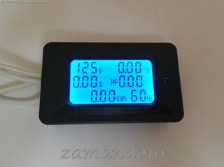 Wattímetro Voltímetro Amperimetro Multifuncional 6 Em 1 20a