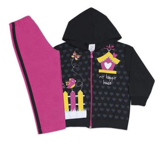 5 Conjunto Moleton Infantil Menina Feminino De Frio Inverno