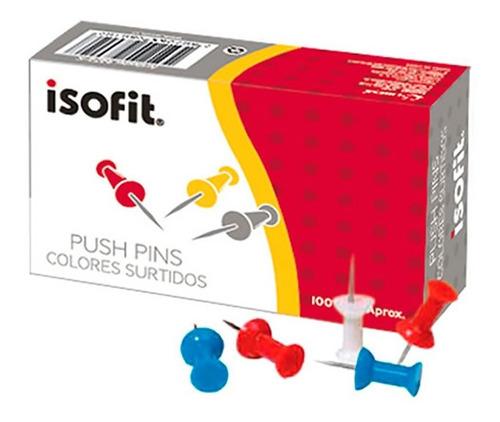 Push  Pins  X  100 Unds  Isofit  ( Surtido Colores )