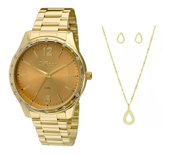 Relógio Feminino Condor Aço Original Quartzo Dourado C/ N F