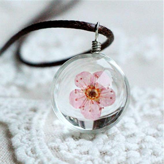 Colar Bola De Vidro Cristal Flores Rosa