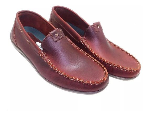 Calzado Zapato Mocasín De Cuero Con Costura. Art 290