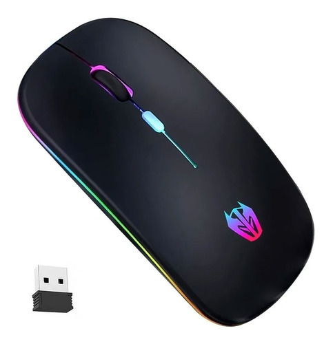 Imagen 1 de 8 de Mouse Inalámbrico, Rgb Ratón Recargable Wireless 2.4g