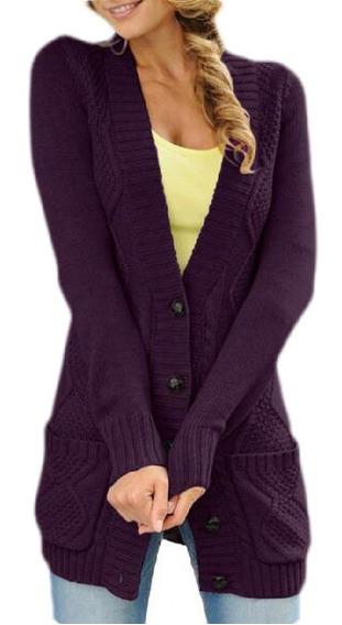 On Down Chunky Cable Cardigan Suéter Casaco Com Bolsos
