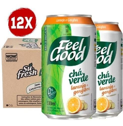 Imagem 1 de 1 de 12x Chá Feel Good Verde Sabor Laranja E Gengibre 330ml