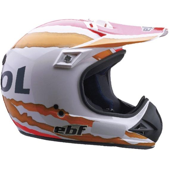 Capacete Moto Ebf Six Repsol Cross 60 Cor Branco