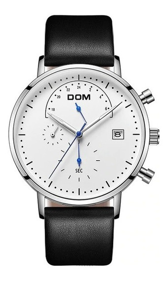 Relógio De Pulso Masculino Dom Original Pulseira Preta Couro