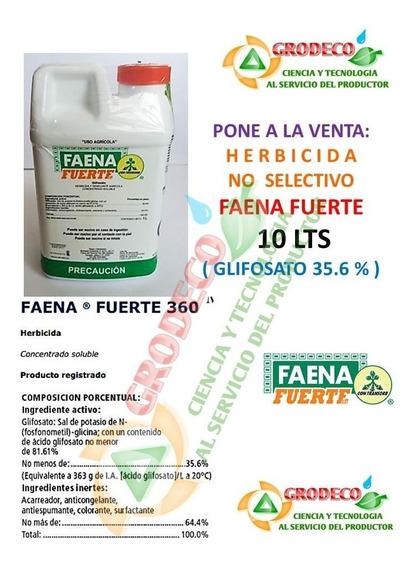 10 Lts Faena Fuerte Herbicida Control De Pasto Glifosato
