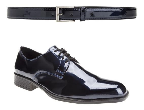 Zapatos De Vestir Con Cinto Charol Moda Eco Cuero Importados