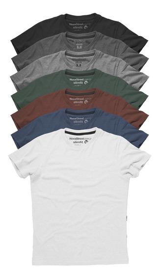 Kit 7 Camisas Slim Fit Masculinas Camiseta Básica Premium
