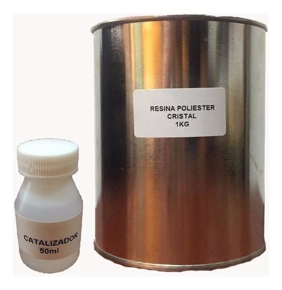 Resina Cristal Vidrio Liquido Poliester 1 Kg C/cat Atesania