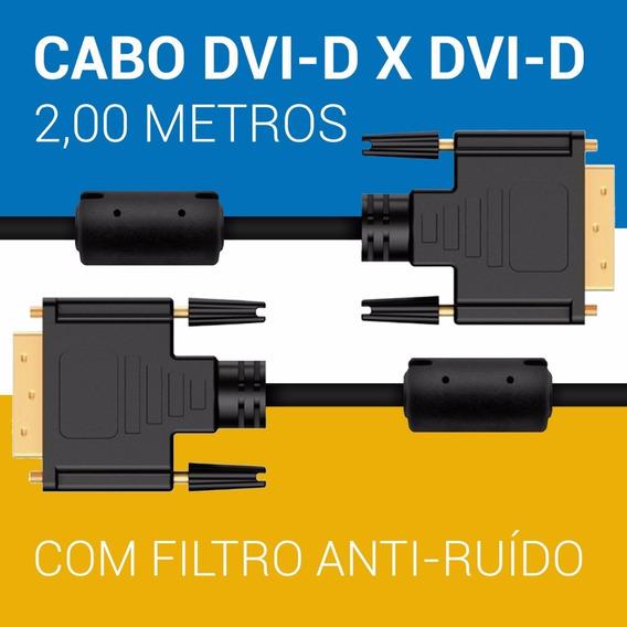 Cabo Dvi-d Macho Dual Link Vídeo 24+1 Pinos 2 Metros Preto