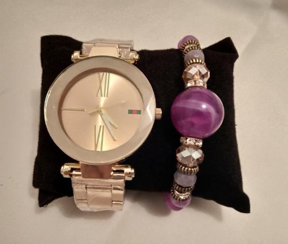 Relógio Feminino Dourado + Pulseira