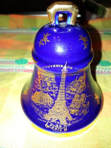 Campana Antigua Limoges Souvenir De Paris, Azul Y Dorado
